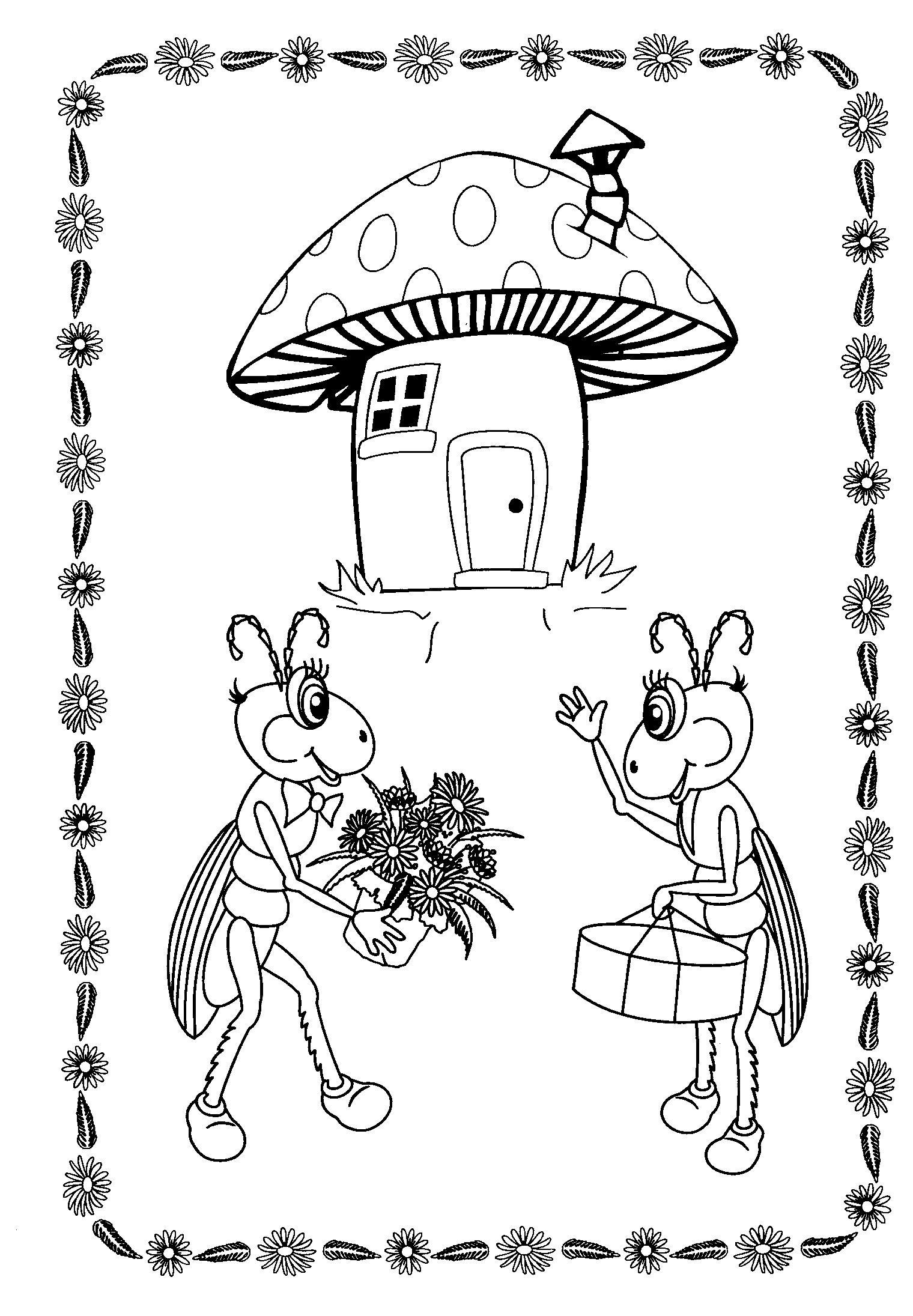 Жуки с подарками. домик-гриб
