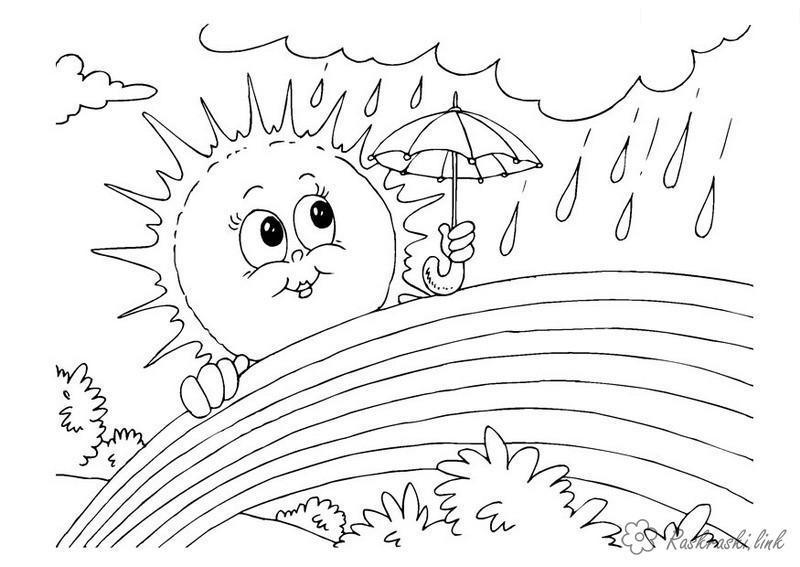 Раскраски явления природы раскраски для детей, явления природы, природа, дождь, радуга, солнце