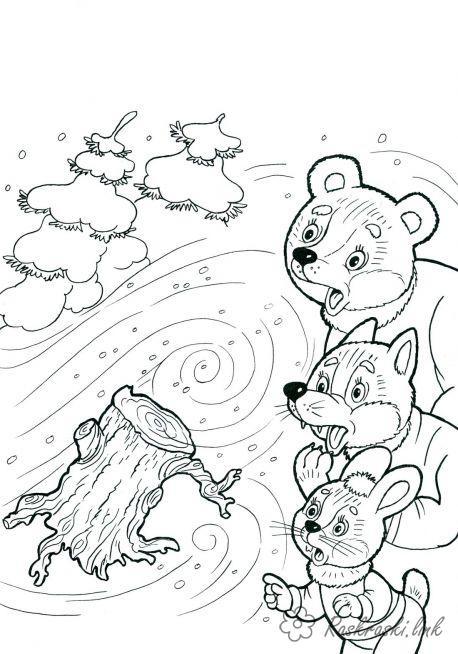 Раскраски явления природы раскраски для детей, явления природы, природа, раскраски животные, вьюга, метель, медведь, лиса, заяц