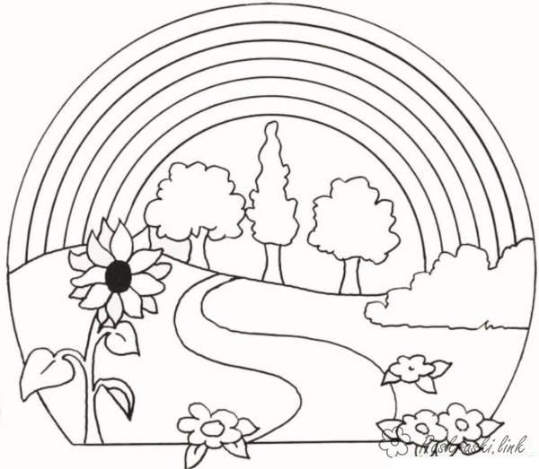 Раскраски явления природы природа радуга явления природы деревья