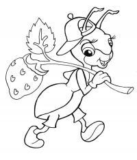 Раскраски насекомые детские раскраски, муравей, ягоды
