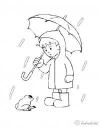 Раскраски явления природы раскраски для детей, явления природы, природа, мальчик, дождь, лягушка, мальчик с зонтиком