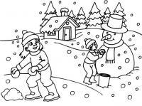 Раскраски явления природы раскраски для детей, явления природы, природа, снег, снеговик, дети, мальчик