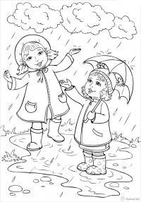 Раскраски явления природы раскраски для детей, явления природы, природа, дети, девочка, дождь
