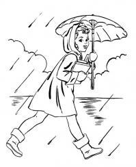 Раскраски явления раскраски для детей, явления природы, природа, дождь, девочка, девочка с зонтом