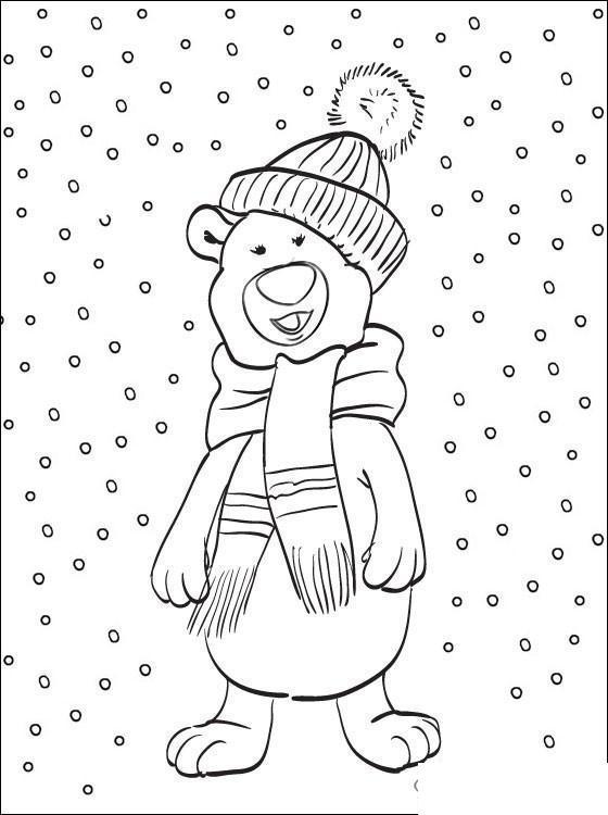 Раскраски явления природы раскраски для детей, явления природы, природа, снег, медвежонок, медвежонок в шапке