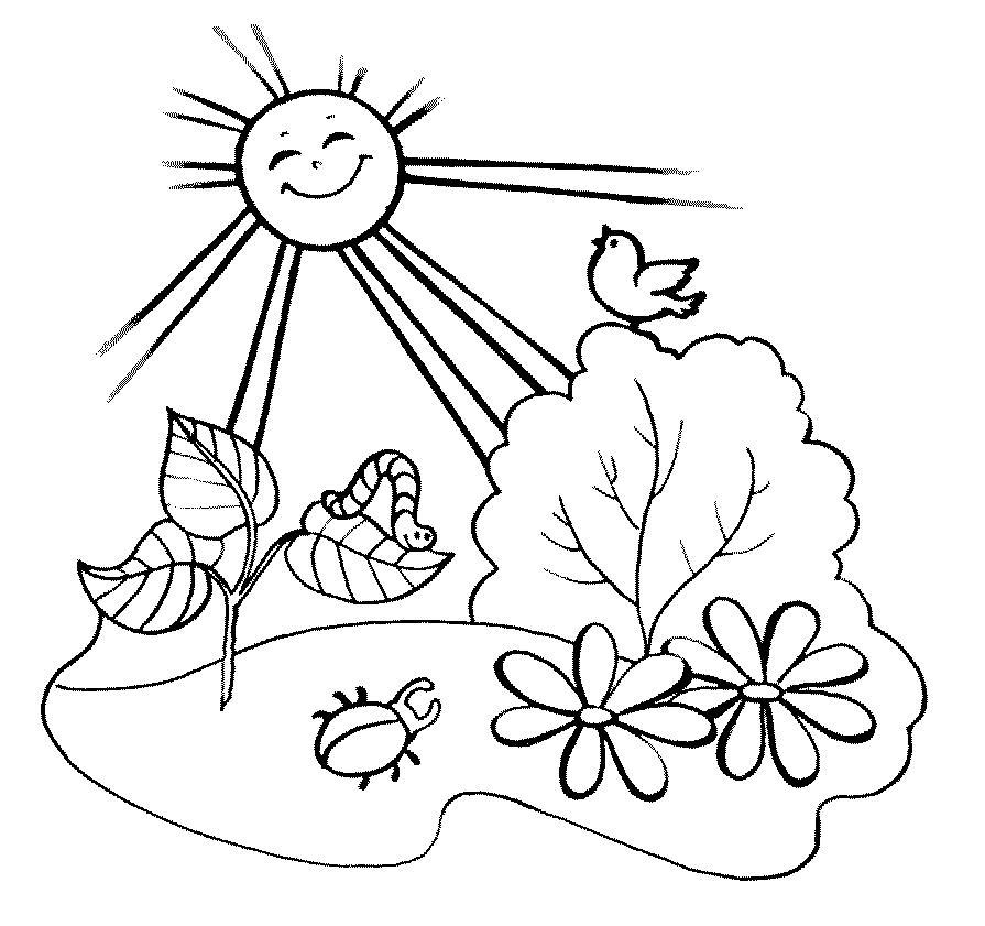 Раскраски солнце раскраска, солнце, гусеница, птичка, цветы