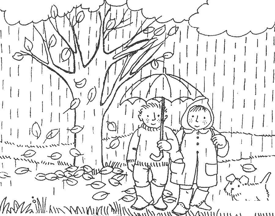Раскраски явления раскраски для детей, явления природы, природа, люди, дождь