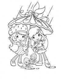 Скачать раскраску девочки под зонтиком, дождь