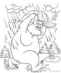 Раскраски явления раскраски для детей, явления природы, природа, медведь, животные, раскраски животные, дождь