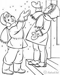 Раскраски явления раскраски для детей, явления природы, природа, снег, дети, мальчик, девочка