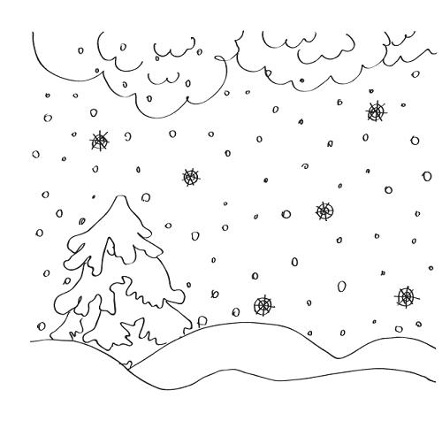 Раскраска. явление природы - снегопад