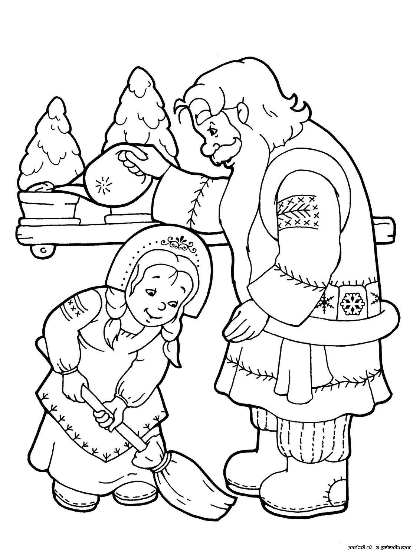 Скачать и распечатать раскраску дед мороз и снегурочка дома
