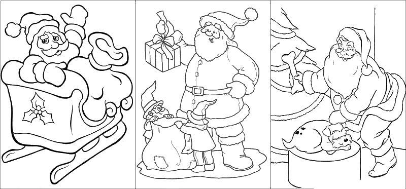 Дед мороз раскраска для детей