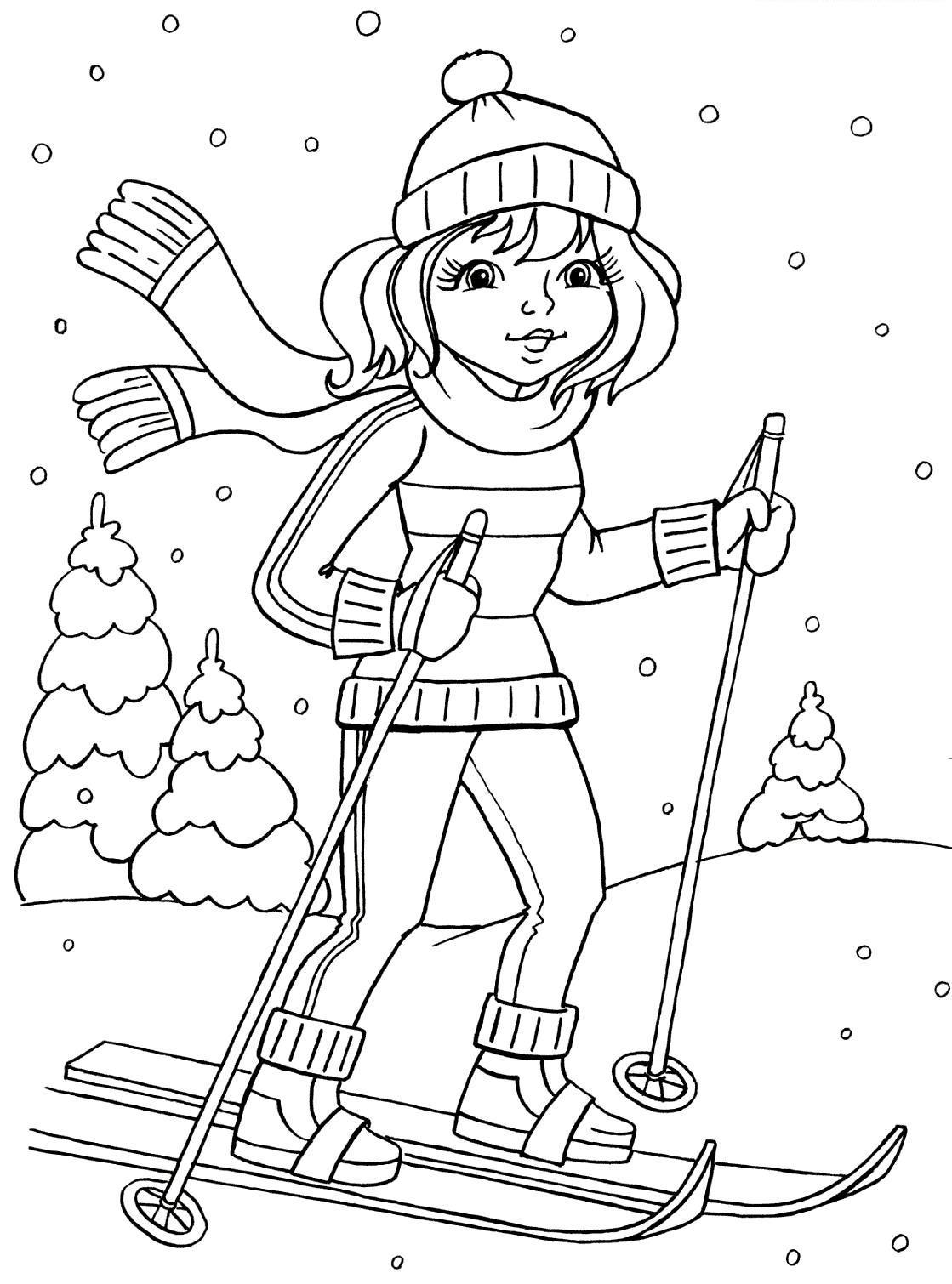 Зимний спорт раскраски для детей