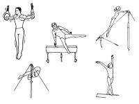 Раскраски гимнастика гимнастика, спорт, брусья, кольца