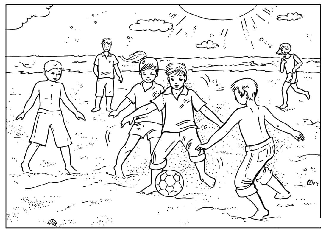 Раскраски футбол футбол, детвора, ворота, природа, спорт, раскраски