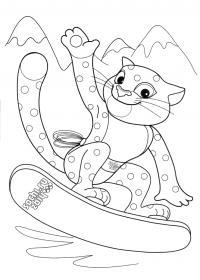 Раскраски олимпиада леопард на скейтборде