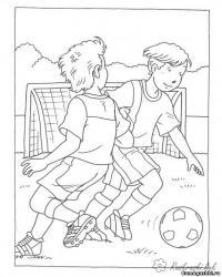 Раскраски футбол футбол, играют, спорт, ворота