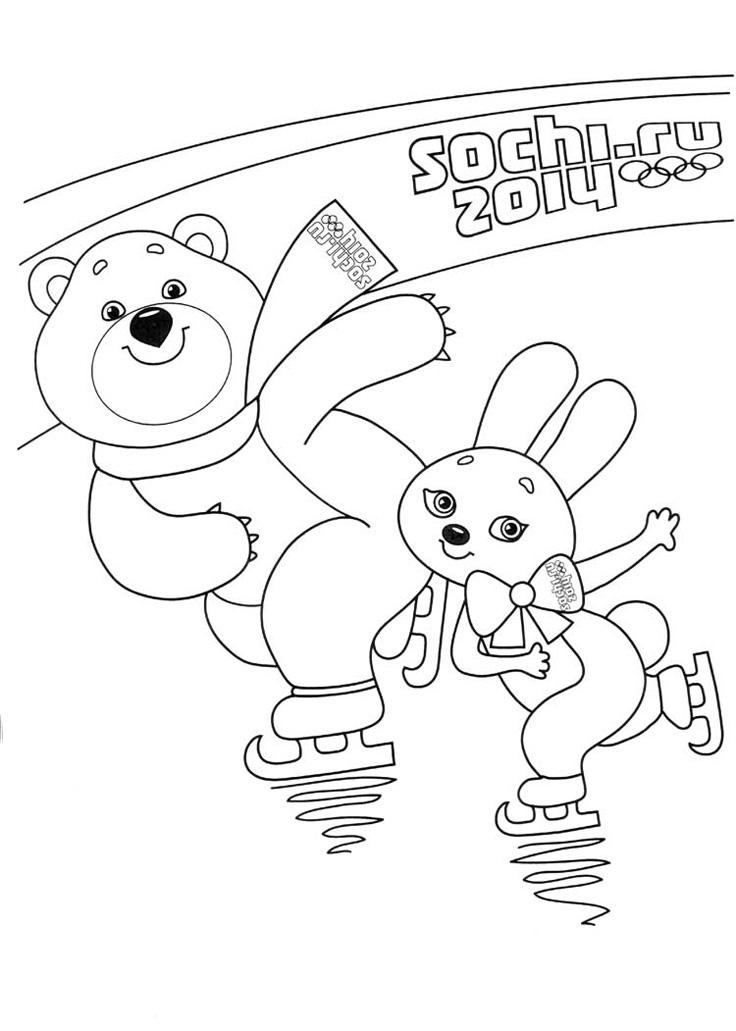 Раскраски олимпийский талисман мишка
