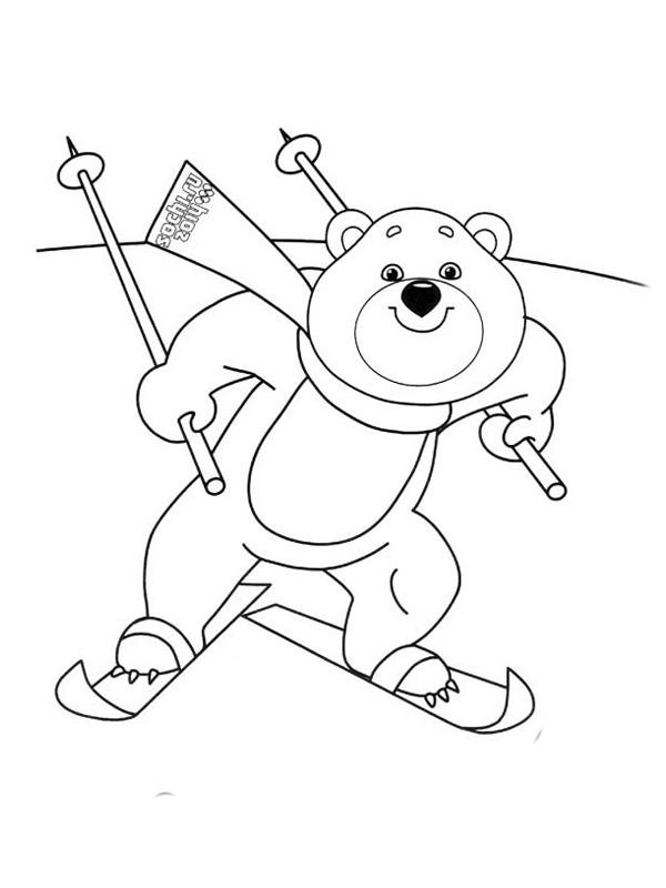 Раскраски олимпийские талисманы мишка лыжный спорт