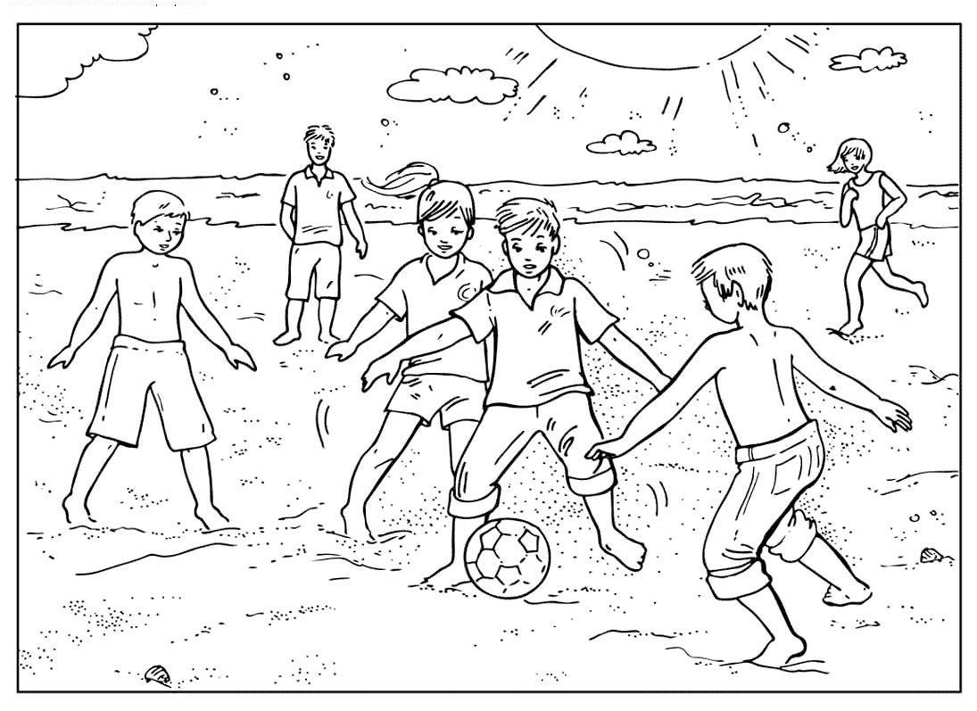 Раскраска футбол на пляже. раскраска игра в мяч на песке раскраска для детей, раскраски спорт