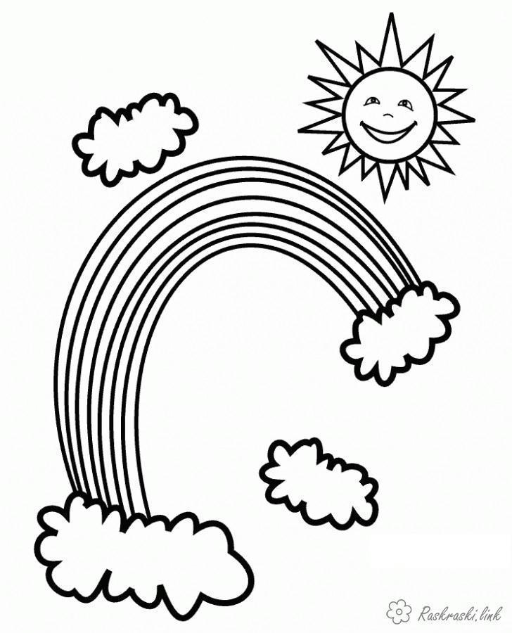 Раскраски солнце явления природы, радуга, солнце, облака