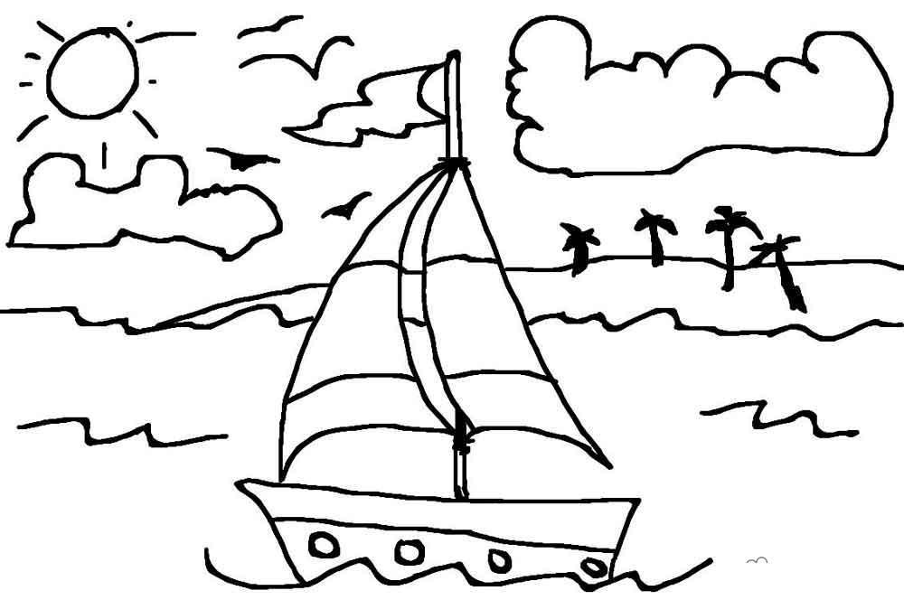 Раскраски солнце раскраска лето кораблик волны солнце облака