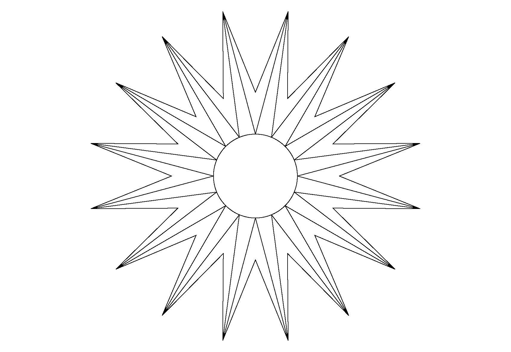 Для скачивания раскраска сияющее солнце