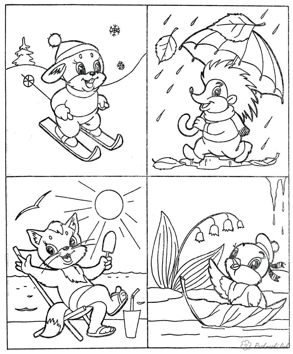 Раскраски детская детская расркаска яления природы, дождь, снег,  солнце