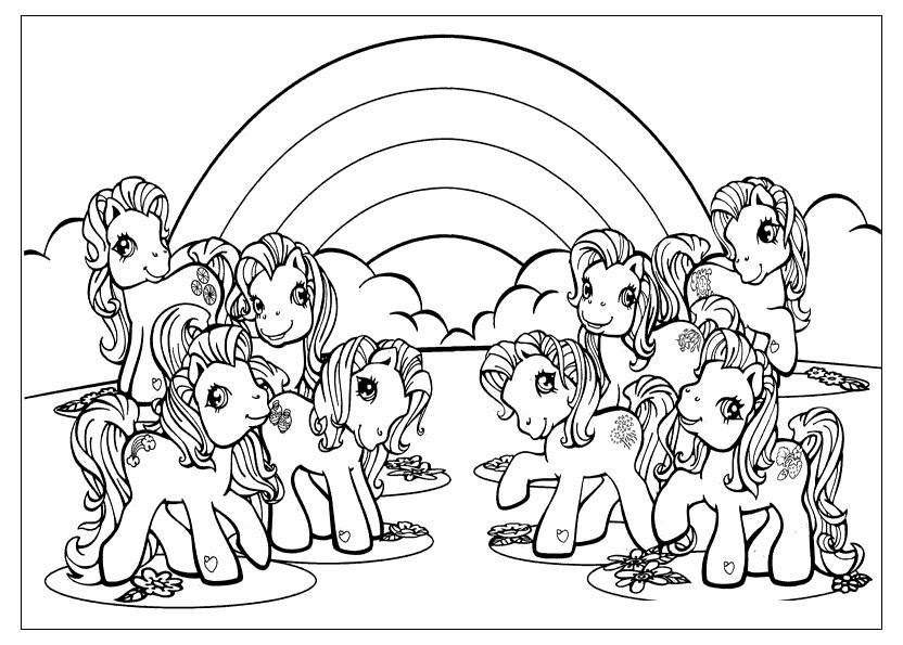 Раскраски радуга раскраски для детей, явления природы, природа, пони, лошадь, радуга, лошадки