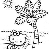 Раскраски солнце раскраска лето пляж котенок пальма солнце