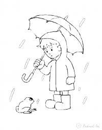 Раскраски дождь раскраски для детей, явления природы, природа, мальчик, дождь, лягушка, мальчик с зонтиком