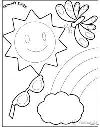 Раскраски радуга раскраска лето очки солнце бабочка радуга