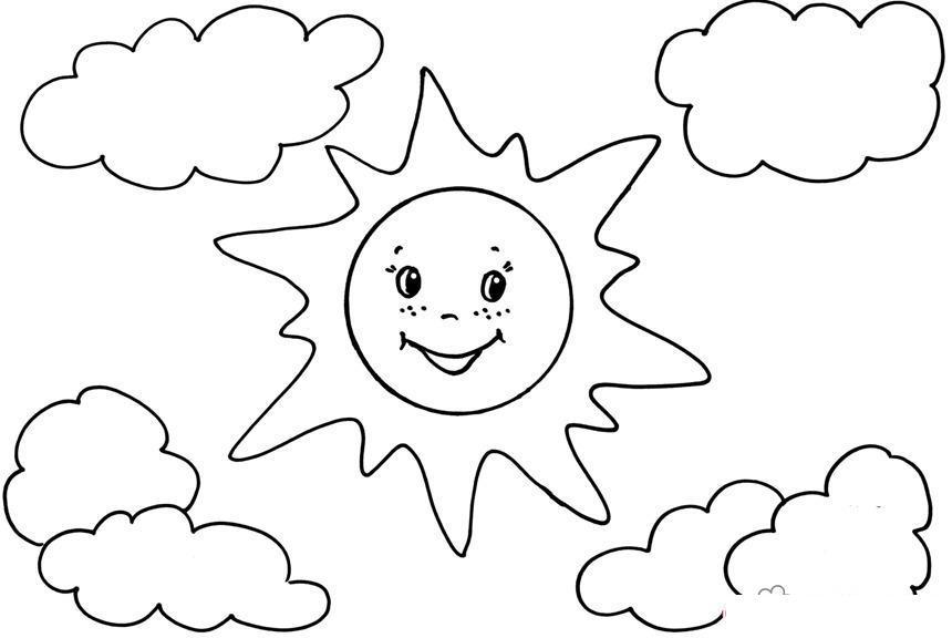 Раскраски солнце раскраска лето веселое,солнце,два облака