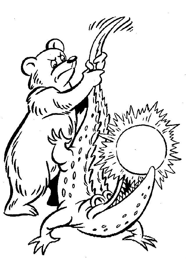 Раскраски солнце мишка косолапый вытаскивает из крокодила солнце