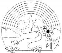 Раскраски радуга раскраски для детей, природа, отдых на природе, деревья, радуга, река