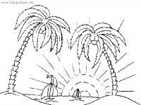 Раскраски солнце раскраска лето две пальмы солнце кораблики