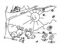 Раскраски солнце раскраска пришла весна, солнце светит на поляну