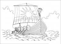 Раскраски солнце военный корабль, викинги, солнце, паруса
