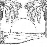 Раскраски солнце явления природы, закат, солнце, океан, море, пальмы
