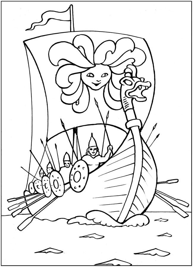 Раскраски солнце корабль с войском, раскраски для детей, солнце