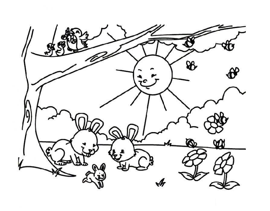 Солнце Раскраски природа раскраска пришла весна, солнце светит на поляну Раскраски распечатать