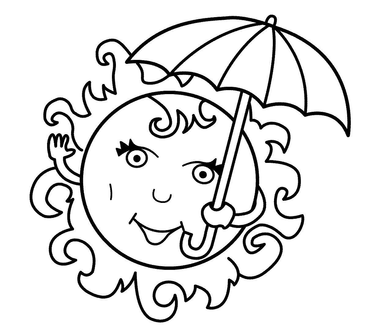Солнце Раскраска яркое солнце под зонтом Раскраски распечатать