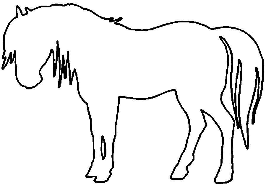 Раскраски вырезания лошадь контур, животные трафарет для вырезания из бумаги
