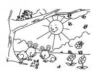 Раскраски природа раскраска пришла весна, солнце светит на поляну