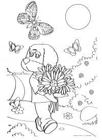 Раскраска филя. раскраска раскраска спокойной ночи, малыши! филя идет по дорожке с букетом цветов. скорее всего это ромашки. светит солнце и вокруг фили пархают бабочки. кому несет букет филя через лесную тропинку? гриб
