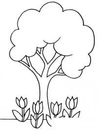 Раскраски природа раскраска дерево с тюпанами .тюльпаны,боьшое дерево