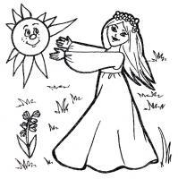 Раскраска весна и солнце