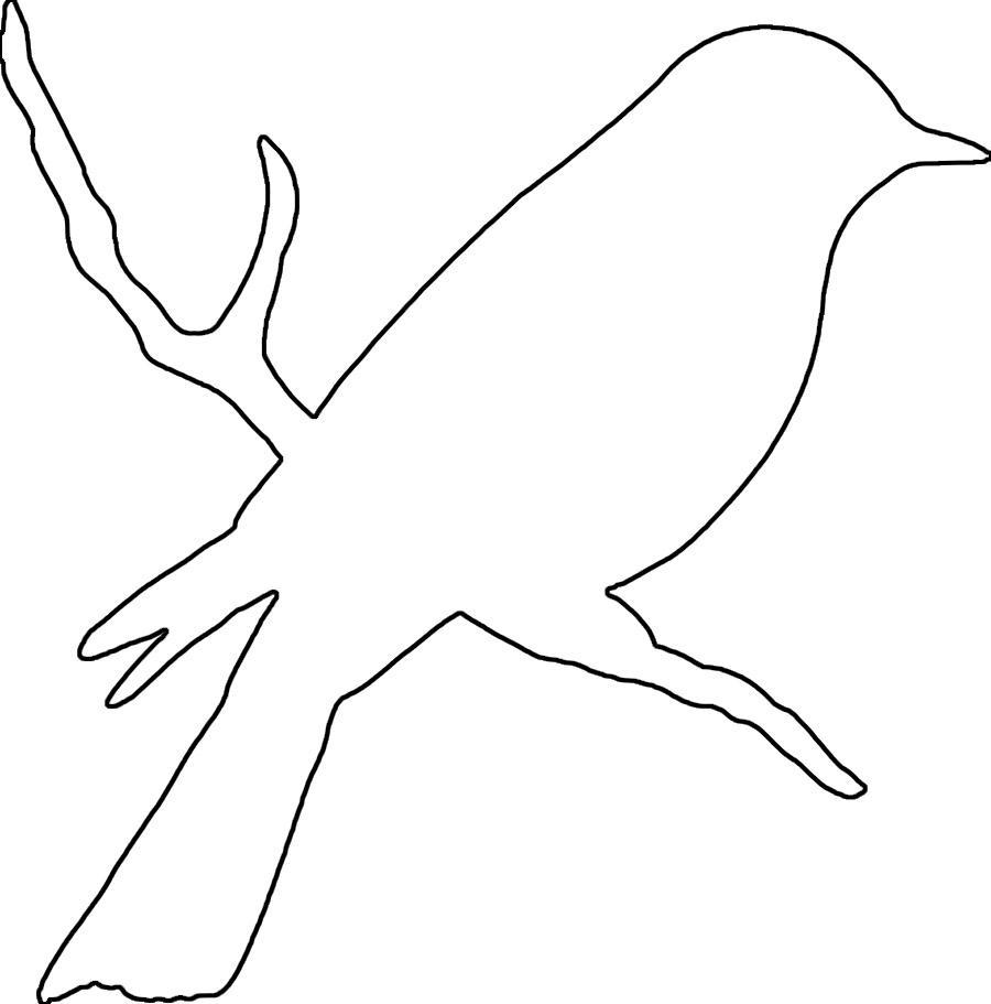 Раскраски шаблоны красивая птица контур для вырезания из бумаги